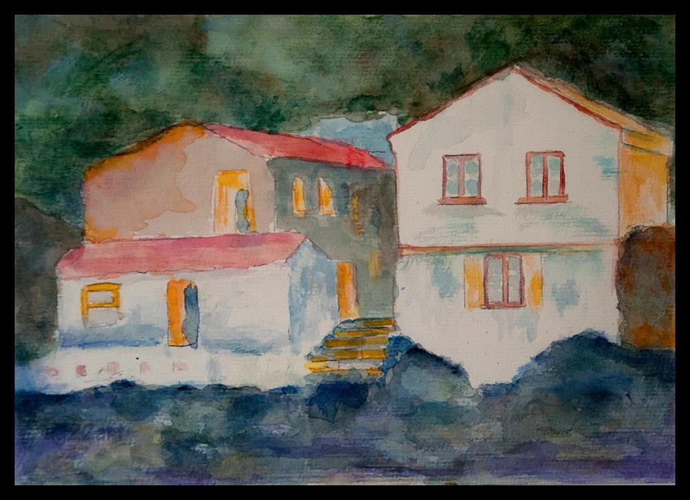 Häuser an der Küste, 17x24cm, Aquarell