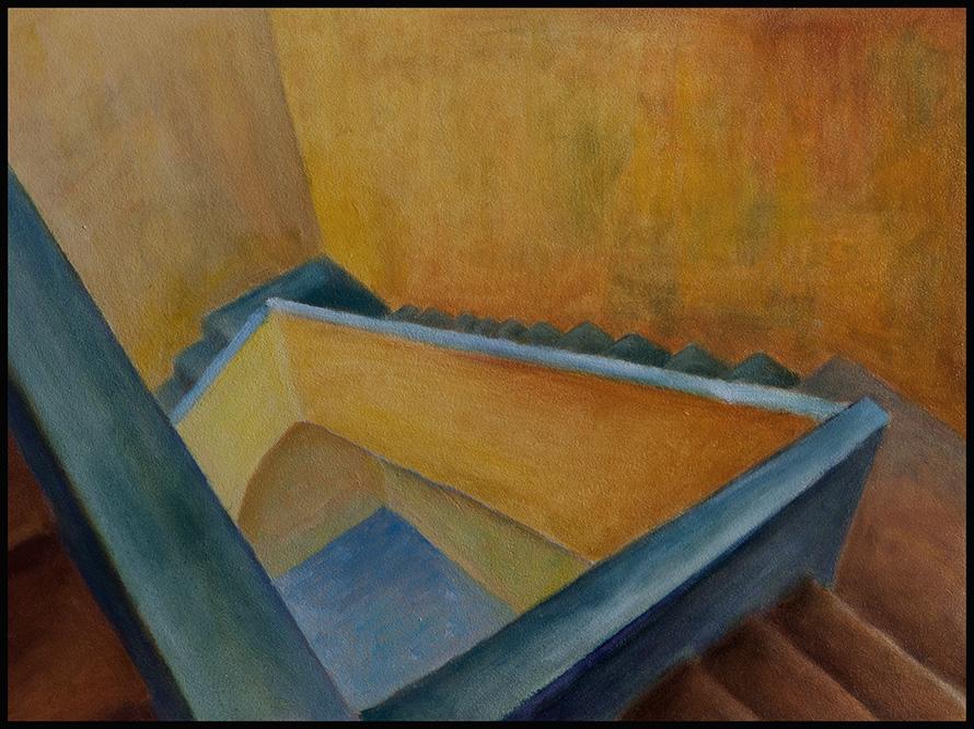 Die Treppe V, 2018, 40*30cm, Öl auf Hartfaser