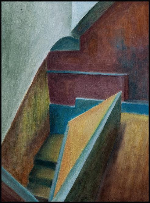 Die Treppe VII, 30*40cm, Oel auf Hartfaser