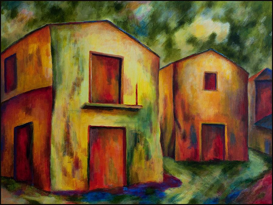 Zwei gelbe Häuser, 2017, 80*60cm, Acryl auf Leinwand, 600,-€