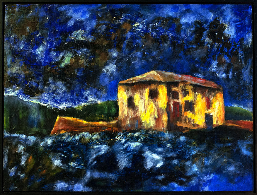 Blue Land, 2016, 70*52cm, Acryl auf Sperrholz