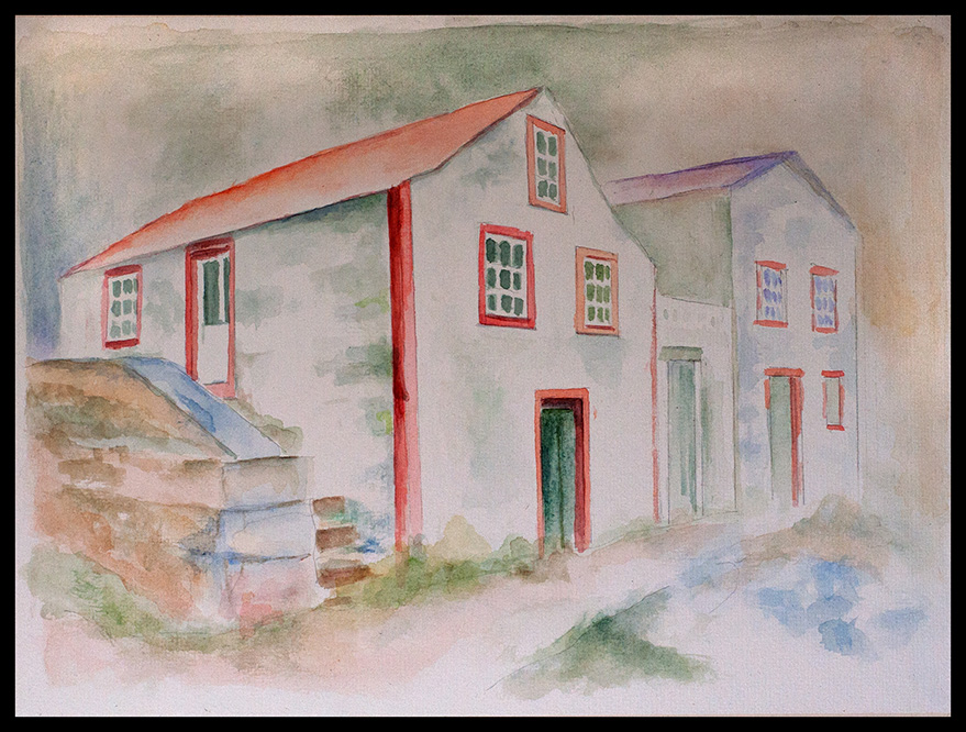 Azores Weißes Haus, 40*30cm, Aquarell auf Papier