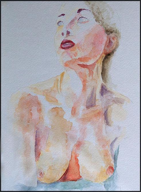 Aktportrait Aq 2/19, 21*30cm, Aquarell auf Papier