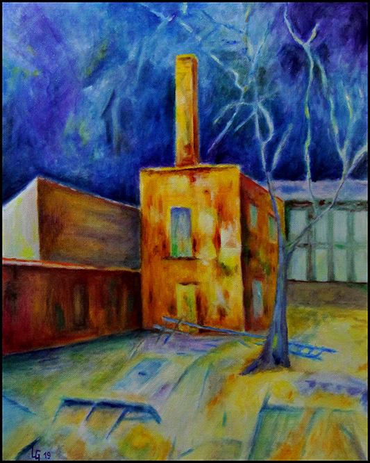 Gelbes Haus 19, 2019, 50*40cm, Öl auf Leinwand, 350,-€