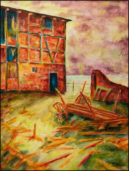 Oderbruch - Rote Scheune, 2019, 30*40cm, Öl auf Leinwand, 250,-€