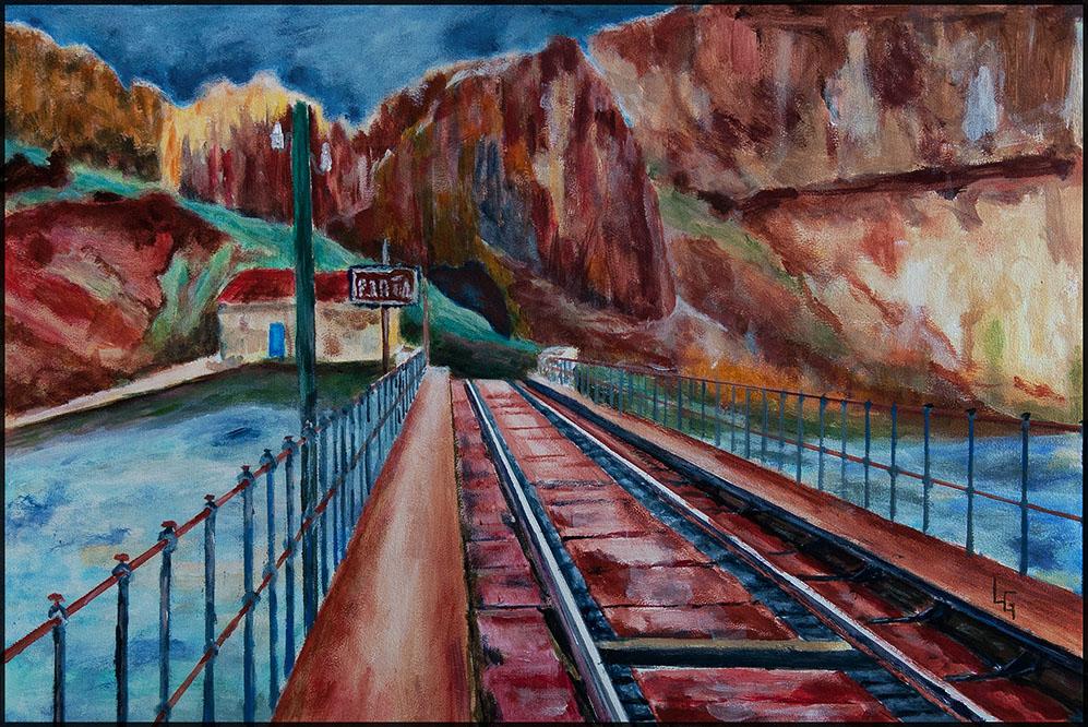 Train Stop VI/20, 60*40cm, Acryl auf Papier