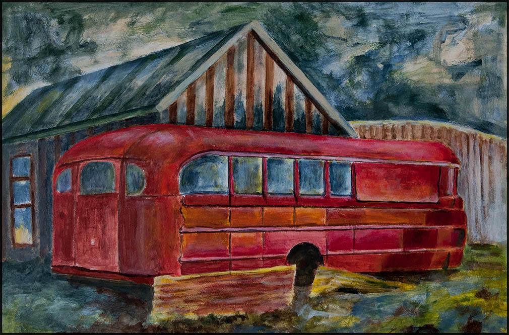 Bus Stop III, 60*40cm, Acryl auf Papier