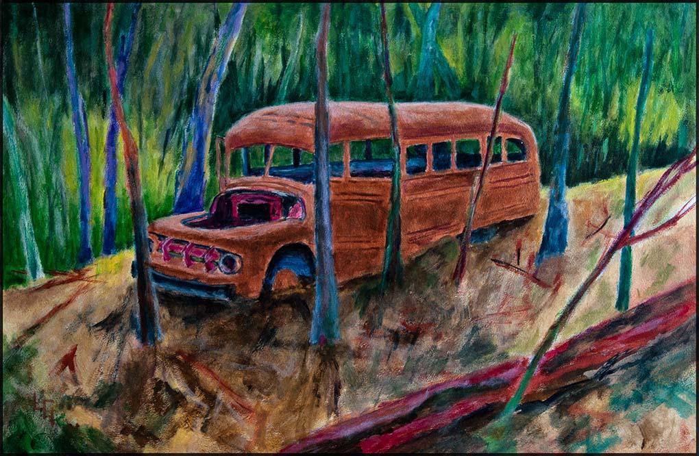 Bus Stop IV/20, 60*40cm, Acryl auf Papier