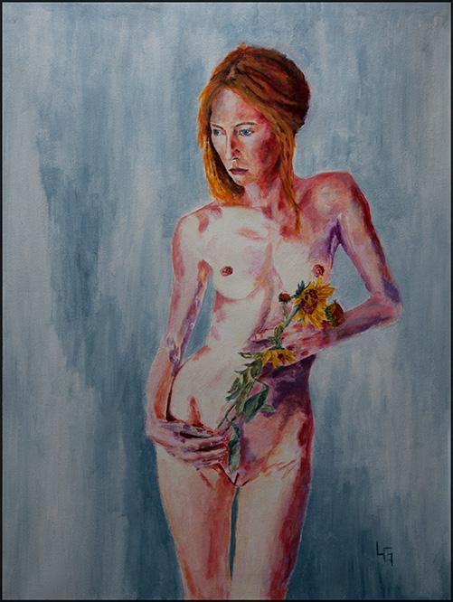Aktstudie mit Blume, 60*80cm, Acryl auf Papier