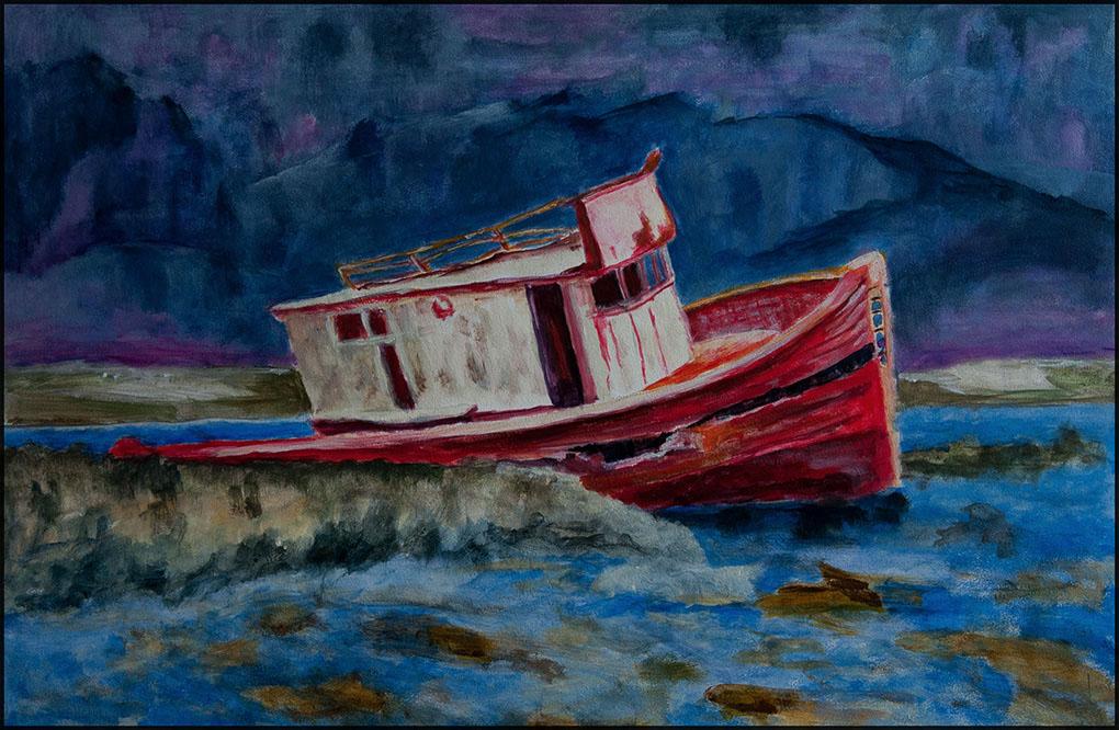 Boats End 02/20, 60*40cm, Acryl auf Papier