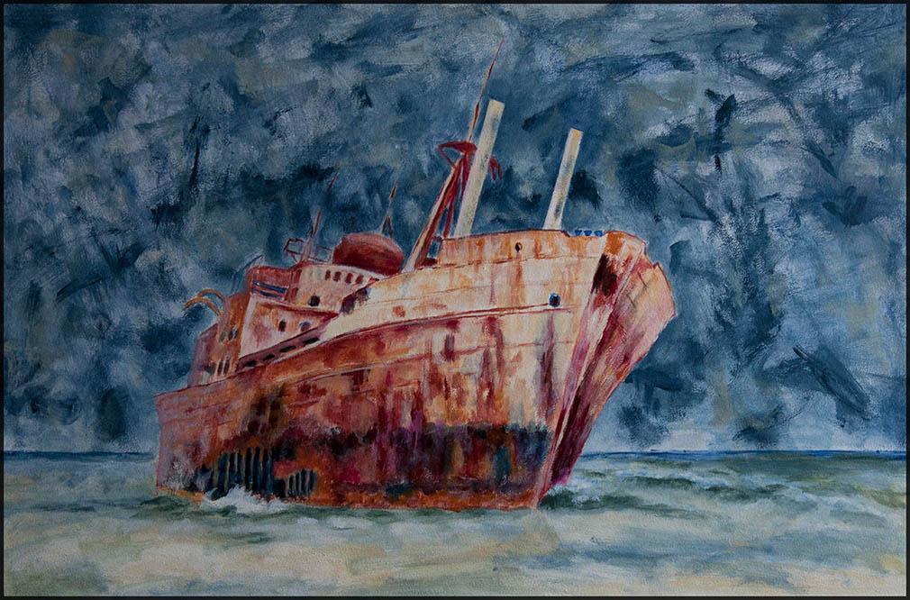 Boats End 01/20, 60*40cm, Acryl auf Papier