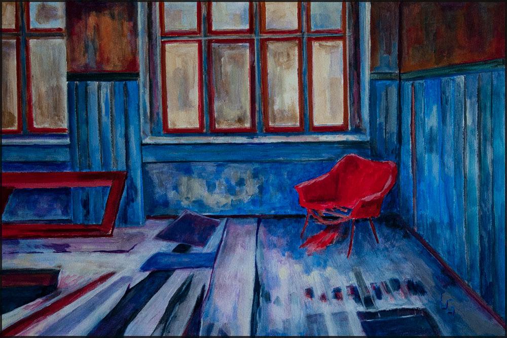 Blaue Ecke, 60*40cm, Acryl auf Papier