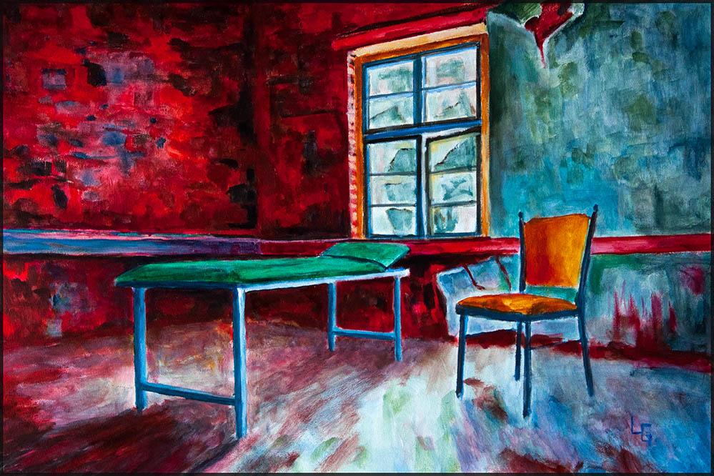 Rote Wand, 60*40cm, Acryl auf Papier