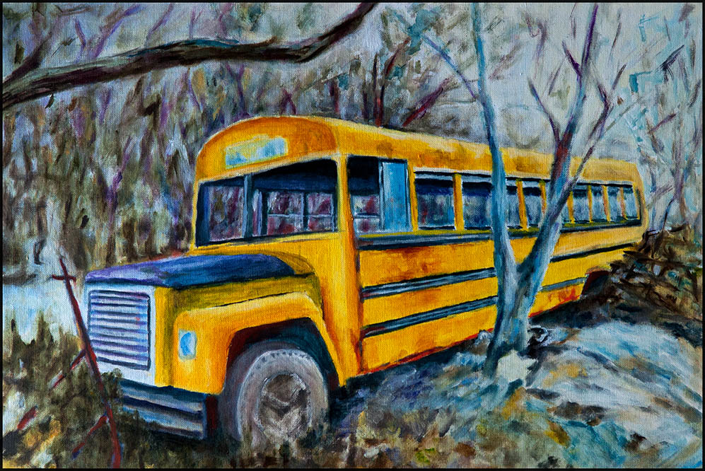 Bus Stop V, 60*40cm, Öl auf Leinwand
