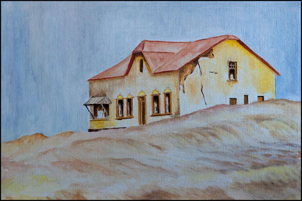 Haus in den Dünen; 60*40cm, Öl auf Leinwand