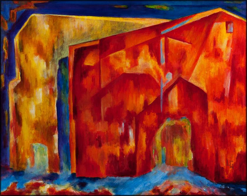 Rotes Haus 21, 50*40, Öl auf Leinwand